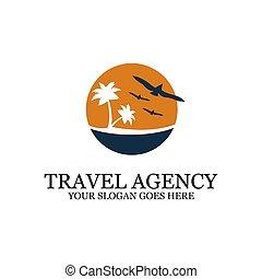デザイン, 日没 浜, ロゴ, 旅行, インスピレーシヨン