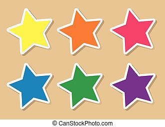 デザイン, 星, 6, 色, ラベル, 形