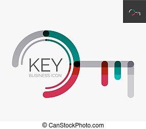 デザイン, 最小である, キー, 線, ロゴ, アイコン