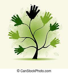 デザイン, 木, あなたの, イラスト, 手