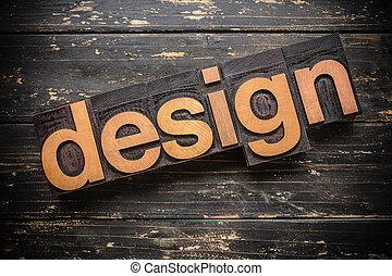 デザイン, 概念, タイプ, 凸版印刷, 木製である, 単語, 型