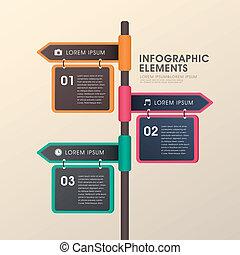 デザイン, 矢, 道標, infographics