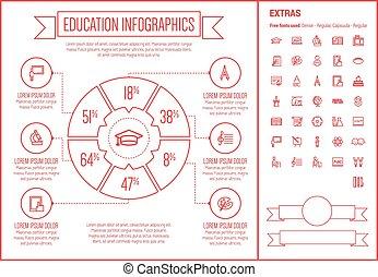 デザイン, 線, infographic, 教育, テンプレート