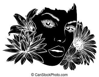 デザイン, 美しさ, シルエット, 黒人の少女, 顔, ベクトル, イラスト, 花