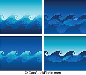 デザイン, 背景, 波