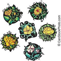 デザイン, 花, ラウンド, 黄色