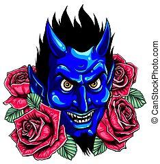デザイン, 花, illustration., face., ベクトル, イメージ, 悪魔