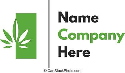 デザイン, 葉, 緑, インド大麻, ベクトル, 健康, ロゴ