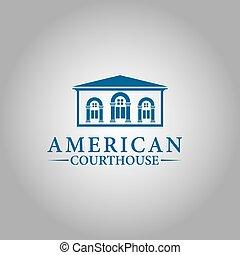 デザイン, 裁判所, ベクトル, inspiration., ロゴ, 州, アメリカ
