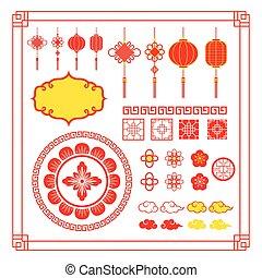 デザイン, 要素, 中国語, 装飾