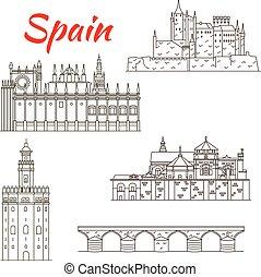 デザイン, 観光事業, 魅力, アイコン, スペイン語