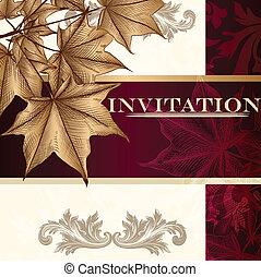 デザイン, 贅沢, カード, 招待