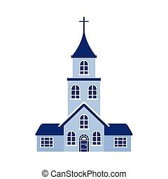 デザイン, 隔離された, 宗教, ベクトル, 教会