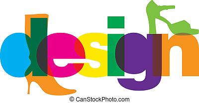 デザイン, 靴, イラスト