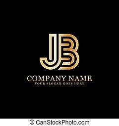 デザイン, 頭文字, jb, インスピレーシヨン, ロゴ, monogram