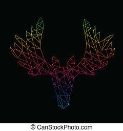 デザイン, 頭, ベクトル, 鹿, イメージ