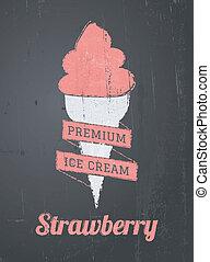 デザイン, 黒板, アイスクリーム