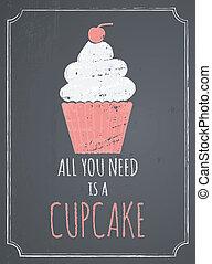 デザイン, 黒板, cupcake