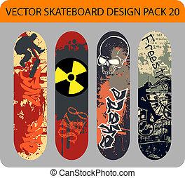 デザイン, 20, スケートボード, パック