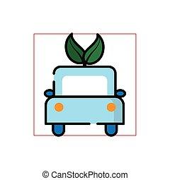 デザイン, bio, エコロジー, 自動車, ベクトル, 隔離された