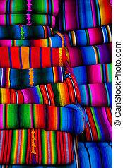 デザイン, chichicastenango, mayan, 織物, 毛布, 市場
