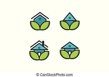 デザイン, eco, 隔離された, 家, 背景, 家, ロゴ, 白, 心配, インスピレーシヨン