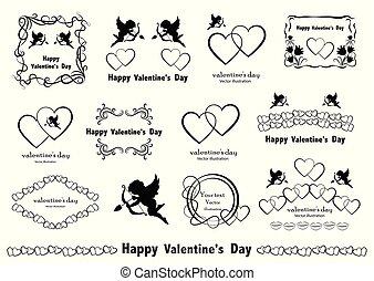 デザイン, elements., バレンタイン, セット, 愛, グラフィック, vector., 型