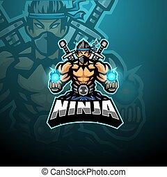 デザイン, esport, マスコット, ninja, ロゴ