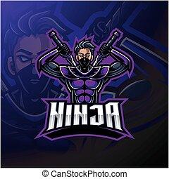 デザイン, esport, ロゴ, ninja, マスコット