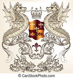 デザイン, heraldic, ドラゴン, fleur