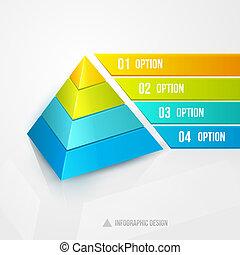 デザイン, infographic, ピラミッド, テンプレート