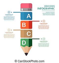 デザイン, infographic, 教育, テンプレート