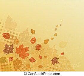 デザイン, invitation., 抽象的, brown/beige, 旗, 葉, プラカード, 秋, バックグラウンド。, フライヤ, ベクトル