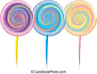 デザイン, lollipop, カラフルである
