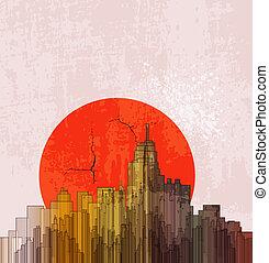 デザイン, poster., 大きい, 上に, バックグラウンド。, 日没, city., 抽象的