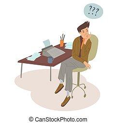 デザイン, prints., svector, typewriter., 平ら, illustration., マレ, 労働者, 職業, 著者