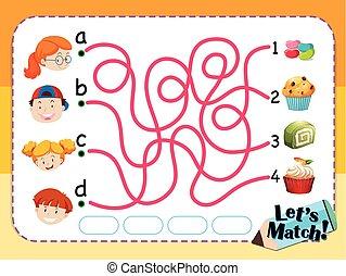 デザート, ゲーム, 子供, 似合う, テンプレート