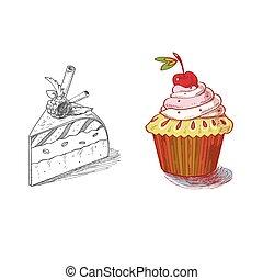 デザート, パイ, 手, パン屋, プロダクト, ペストリー, マフィン, 糖剤, 引かれる, cupcake