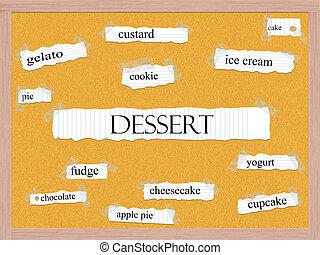 デザート, 概念, corkboard, 単語