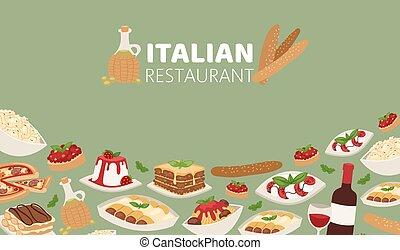 デザート, illustration., チーズ, レストラン, 食物, 昼食, ピザ, 旗, スパゲッティ, パスタ, ワイン, イタリア語, ベクトル