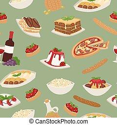 デザート, illustration., チーズ, 食物, 昼食, ピザ, seamless, スパゲッティ, パターン, 料理パスタ, ワイン, イタリア語, ベクトル