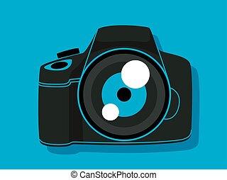 デジタルカメラ, 中に, 青い背景