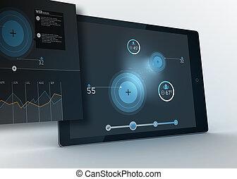 デジタルタブレット, 提示, データ, そして, 円, ∥で∥, 予測