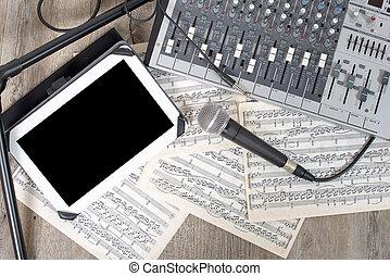 デジタルタブレット, 置かれた, 上に, a, オーディオミクサ