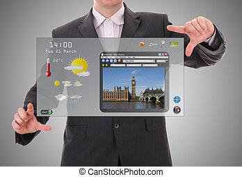 デジタル世界, 概念, グラフィック, プレゼンテーション, 作られた, によって, ビジネスマン, 上に, 未来派, ユーザインタフェース
