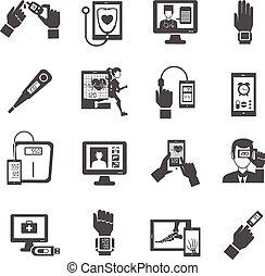 デジタル, アイコン, セット, 健康