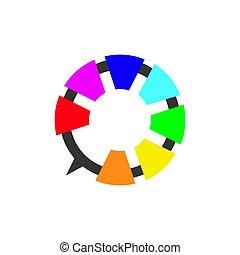 デジタル, イラスト, 概念, 解決, デザイン, ベクトル, ロゴ