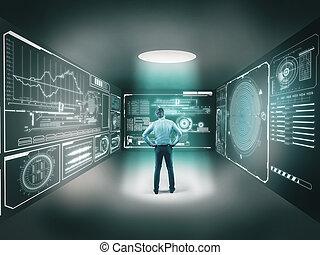 デジタル, スクリーン, 部屋