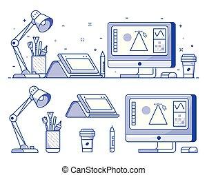 デジタル, デザイナー, イラストレーター, ∥あるいは∥, アイコン