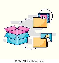 デジタル, フォルダー, ファイル, インフォメーション貯蔵, 箱
